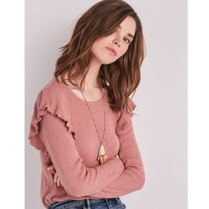 Lucky Brand Ribbed Ruffle Long Sleeve Sweater Top